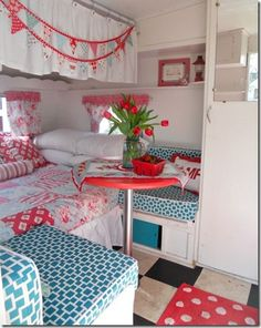Cute & Bright Colors for this vintage camper