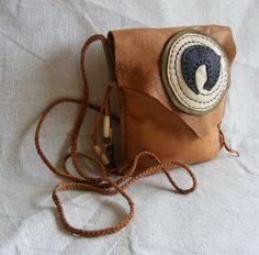 HORSE old west sheepskin leather purse Medicine Bag / Spirit Pouch / Cross shoulder bag