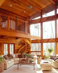 Picture of Contempo Prow Star house number 35494 from Lindal Cedar Homes: worldwide manufacturer of post and beam homes, solid cedar homes, custom log homes, sunrooms and room additions. Log Cabin Living, Log Cabin Homes, Barn Homes, Log Cabins, Mountain Cabins, Rustic Homes, Modern Farmhouse Interiors, Cabin Interiors, Lindal Cedar Homes