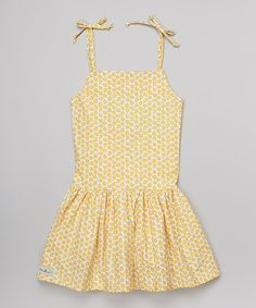 Look what I found on #zulily! KALMcollection Yellow Daisy Sunnie Tie Dress - Infant, Toddler & Girls by KALMcollection #zulilyfinds