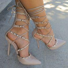 Pyramid Studded Strappy Heels