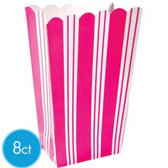 Pink Striped Popcorn Boxes 8ct
