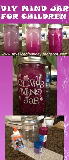 DIY Mind Jar for Children - alternative for timeouts (see blog for more info about how to make and use the mind jar)