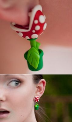 """tcfusion: """" Nintendo Mario YOUCH Piranha Plant Earrings """" Super awesome accessory for any Mario Nintendo fan! This Piranha Plant earring set made of polymer clay will sure put a bite in your day! Piercings, Piercing Implant, Bijou Geek, Cute Jewelry, Jewelry Accessories, Avery Jewelry, Jewelry Model, Jewelry Stand, Dainty Jewelry"""