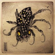 Tsuchigumo (the earth spider) Japanese lore: a giant spider that got it power…