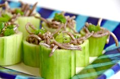 Chilled Soba In Cucumber Cups.