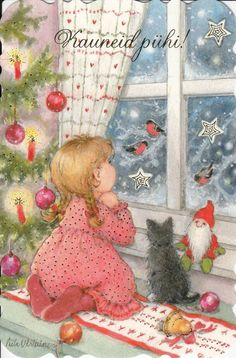New Single Christmas Card by Aila Utriainen Girl Cat Window Small Card | eBay