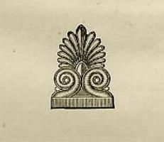 The logo for the Prang Educational Company was the anthemion, seen at left. This floral ornament was often used as an antefix, to conceal the ends of roof tiles on ancient Greek buildings. Walter Smith named the collection of research papers produced by the student art education club at the Massachusetts Normal Art School The Antefix Papers