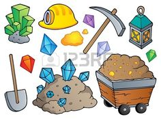 Illustration about Mining theme collection 1 - vector illustration. Illustration of lantern, ground, precious - 24861159 Gold Mining Equipment, Gift Card Printing, Card Games For Kids, Romantic Themes, Embroidery Cards, Free Art Prints, Royalty Free Pictures, Small Art, Wall Murals