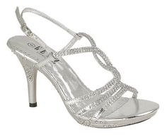 silver rhinstones wedding shoes modern high heel sandals | Wedding