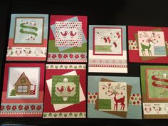 Second 8 of 16 Christmas Cards featuring Stampin' Up! Snow Festival DSP