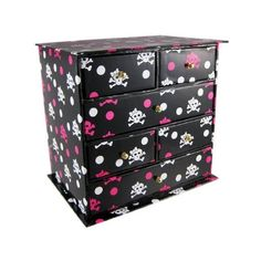 Amazon.com: Black / Hot Pink Girl Skull Print Jewelry Box 6 Drawers: Home & Garden ($25) found on Polyvore