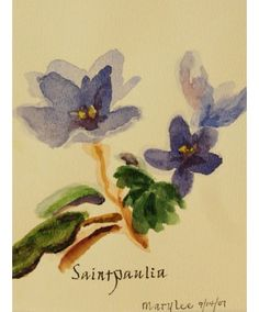 """""""Saintpaulia"""" is an original watercolor by Sister Mary Lee Hillenbrand."""