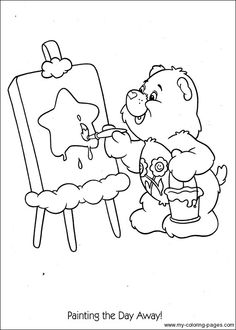 Bear Coloring Pages, Printable Adult Coloring Pages, Cartoon Coloring Pages, Disney Coloring Pages, Coloring Sheets, Coloring Pages For Kids, Coloring Books, Kids Coloring, Care Bears