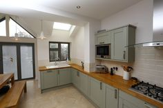 Case Study: Single Storey Extension and Loft Conversion, Lance Rd - London Building Renovation Green Kitchen, Kitchen Colors, Kitchen Design, Kitchen Ideas, Single Storey Extension, Building Renovation, Layout, House Extensions, Kitchen Cupboards