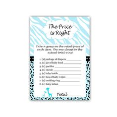 INSTANT DOWNLOAD Blue Giraffe Baby Shower The Price Is Right Baby Shower Games Cards - Zebra Leopard Jungle Safari  Activities Printable on Etsy, $5.00