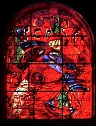 The tribe Zebulon ~ The twelve windows were created by Marc Chagall for the Synagogue of the Hadassah hospital in Jerusalem. They symbolize the twelve sons of Jacob, which made the twelve tribes of Israel. Marc Chagall, Stained Glass Art, Stained Glass Windows, Chagall Windows, Chagall Paintings, Sons Of Jacob, Jewish History, Stage Set, Glass Ceramic