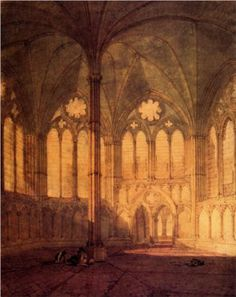 The Chapter House, Salisbury Cathedral (1799) - William Turner.  Beautiful interior.
