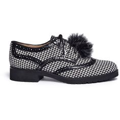 Sam Edelman 'Dahl' pompom houndstooth brogue Oxfords ($78) ❤ liked on Polyvore featuring shoes, oxfords, black, kohl shoes, sam edelman shoes, black brogues, black shoes and oxford brogues