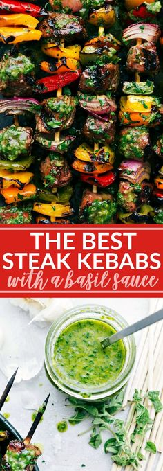 Thick cut pieces of steak are marinated in a flavorful blend of ingredients and then skewered with peppers and onion and then grilled to perfection to bring you the best steak kebabs! Kebab Recipes, Grilling Recipes, Beef Recipes, Cooking Recipes, Healthy Recipes, Family Recipes, Sauce Recipes, Healthy Snacks, Recipies