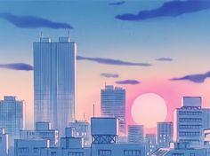 'Sailor Moon City Landscape' Poster by Freshfroot Sailor Moon S, Sailor Moon Tumblr, Landscape Sketch, City Landscape, Landscape Walls, Sailor Moon Aesthetic, Aesthetic Art, Aesthetic Anime, Tumblr Backgrounds