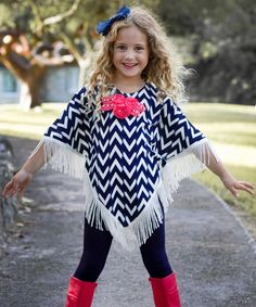 Look at this Mia Belle Baby Navy & White Zigzag Paola Poncho & Leggings - Toddler & Girls on #zulily today!
