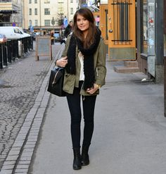i love outfits like this...scarf, parka, black ankle boots and skinnys