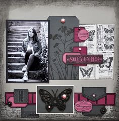 Bonsoir, Je prends un peu de temps pour poster cette page réalisée avec un très joli papillon engrenage, nouveauté de chez Embelliscrap ! J'ai mis en avant ce papillon que j'ai teinté avec de la Versafine noire avec un camaieu de Bazzill en gris et rose...