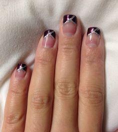 Purple french nail. Nail art for short nails