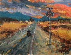 An original 11 x 14 acrylic painting on canvas panel, featuring a Southwest theme with the iconic Route 66 highway west and a lone motorcycle