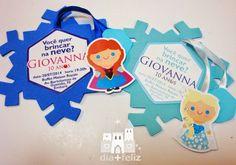 dia mais feliz: Convite Floco de Neve+Feliz • Giovanna • Frozen