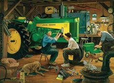 Grandpa has lots of help working on the John Deere tractor in this Charles Freitag print. Antique Tractors, Vintage Tractors, Old Tractors, John Deere Tractors, Farmall Tractors, Tractor Pictures, Farm Pictures, Ford 1979, Agriculture Pictures