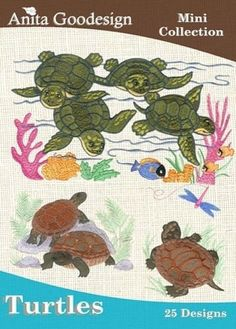 Anita Goodesign Embroidery  Collection,  Turtles, 25 Designs,  Pes  Instant Download von CreaInvento auf Etsy