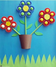 If you need any ideas of craft projects that you can get your hands on have a look at these inspirational recycled craft ideas. Spring Crafts For Kids, Easy Crafts For Kids, Craft Activities For Kids, Diy For Kids, Craft Ideas, Bottle Top Crafts, Plastic Bottle Crafts, Craft Stick Crafts, Paper Crafts