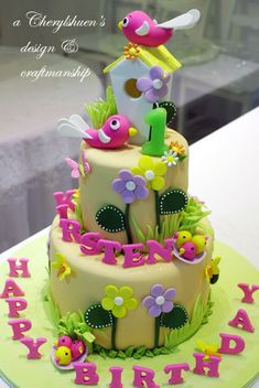 Flowers & Birds Cake.