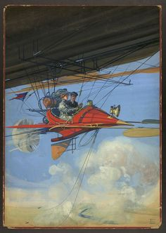 """Futuristic air travel by Harry Grant Dart. This drawing appeared on the cover of """"All Story"""" magazine (created between 1900-1910). Library of Congress Prints and Photographs Division."""