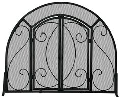 Single Panel Screen W/ Doors - With its popular black wrought iron finish, and scroll design motif, this UniFlame(R) single-panel fireplace screen, by Blue Rhino(R), brings a traditional, yet classic elegance to the hearth. It's single-panel design makes tending fires simple and easy. Graceful arched detailing adds to this screen's beauty. Heavy wrought iron construction Easy-open doors for tending a fire Single panel allows for easy placement against opening 32 in. high x 39 in. wide…
