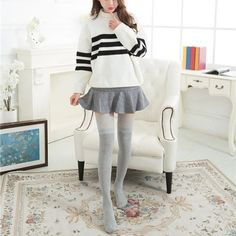 [leggycozy] Kawaii Lovely Vintage Lace Trim Over Knee Stockings Bell Sleeves, Bell Sleeve Top, Vintage Lace, Thigh Highs, Lace Trim, Thighs, Stockings, Kawaii, Tops