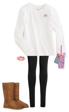 Watching My Brother's Tennis by katie-tx on Polyvore featuring Lipsy, UGG Australia, Vineyard Vines and Lilly Pulitzer