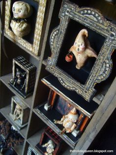 Toy Theaters Halloween Folk Art by Melissa Valeriote.....I would love a shelf like this in my house