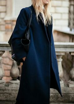 minimal blue coat #style #fashion