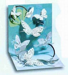 Spiral pop up example. swarm of butterflies on a coiled path.beautiful pop-up card! by fay Pop Up Greeting Cards, Pop Up Box Cards, Greeting Cards Handmade, Kirigami, Pop Up Art, Interactive Cards, Shaped Cards, Fancy Fold Cards, Butterfly Cards