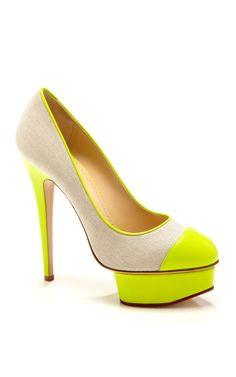 Shop Acid Green Monacoco by Charlotte Olympia Now Available on Moda Operandi