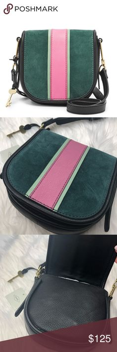 NWT Fossil Rumi Crossbody Leather & Suede Brand new with tags! Alpine green suede with pink leather center stripe. Crossbody. Black back and strap. Gold hardware. No trades!! 011018200 Fossil Bags Crossbody Bags