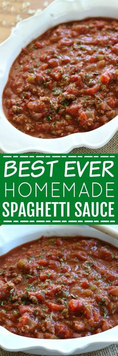 This Homemade Spaghetti Sauce is so easy and delicious, you will never buy the jarred kind again! Try it and you will see why I call it the Best Ever!