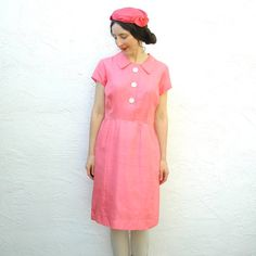 Pink 1960s Shirtwaist Dress// 60s Mod Dress Day// by AstralBoutique, $42.00