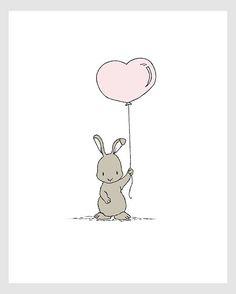 Wald Kinderzimmer Kunst – Bunny Herz Ballon – Bunny Kinderzimmer Kunst – Kinder Kunst – Kinder Wandkunst - a Art Wall Kids, Art For Kids, Wall Art, Art Children, Children Pictures, Forest Nursery, Woodland Nursery, Bunny Nursery, Nursery Art
