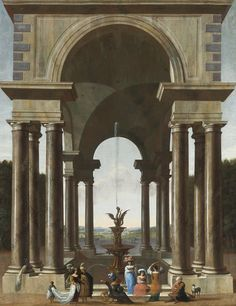 Jacob Ferdinand Saeys (1658 – после 1726) Классический портик с обществом у фонтана (A Classical Portico With An Elegant Company Gathered By A Fountain) 1694_93.3 х 73.3_х.,м. Частное собрание