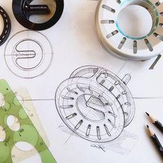 Quick sketch of our flyfishing reel for . Sketch Design, Design Art, Logo Design, Sketch Inspiration, Design Inspiration, Industrial Design Sketch, Hand Sketch, Cool Sketches, Ink Illustrations