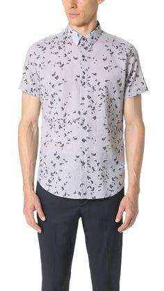 760d800b963e THEORY Zack Leaf Print Short Sleeve Button Down Shirt.  theory  cloth  shirt